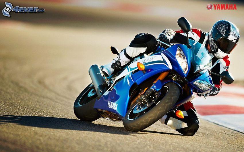 Yamaha, motociclista, curva, circuito da corsa