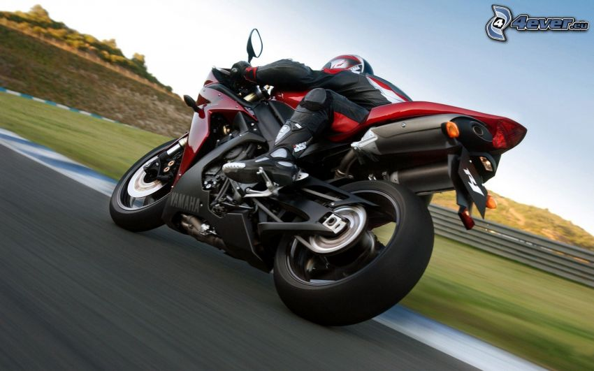 Yamaha R1, motociclista, circuito da corsa, velocità