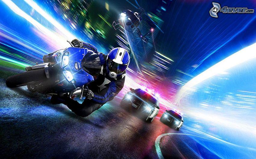 motociclista, elicottero, auto della polizia