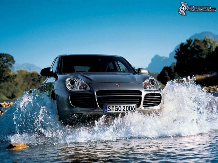Porsche Cayenne, SUV, acqua, splash