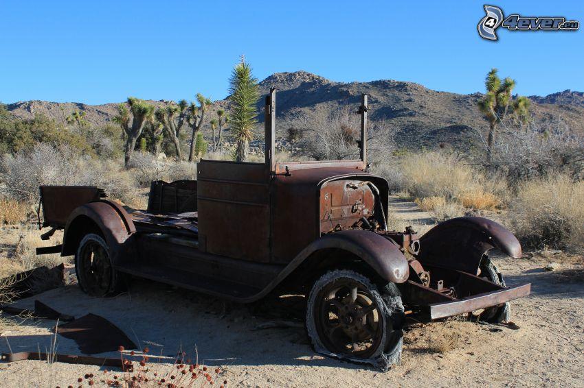 relitto, veicolo d'epoca, deserto