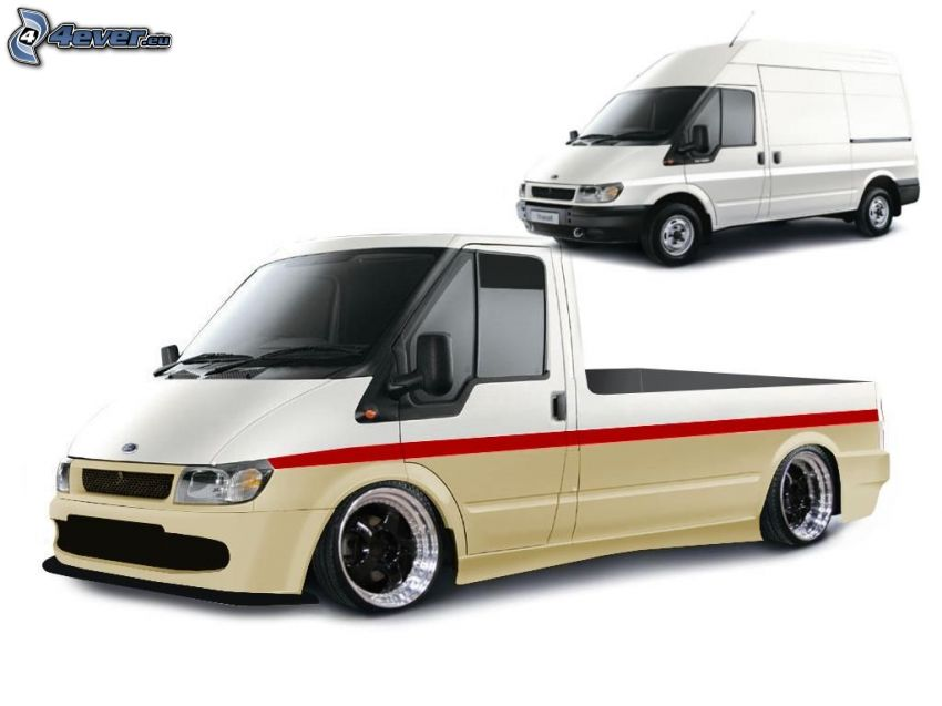 Ford Transit, virtual tuning, lowrider
