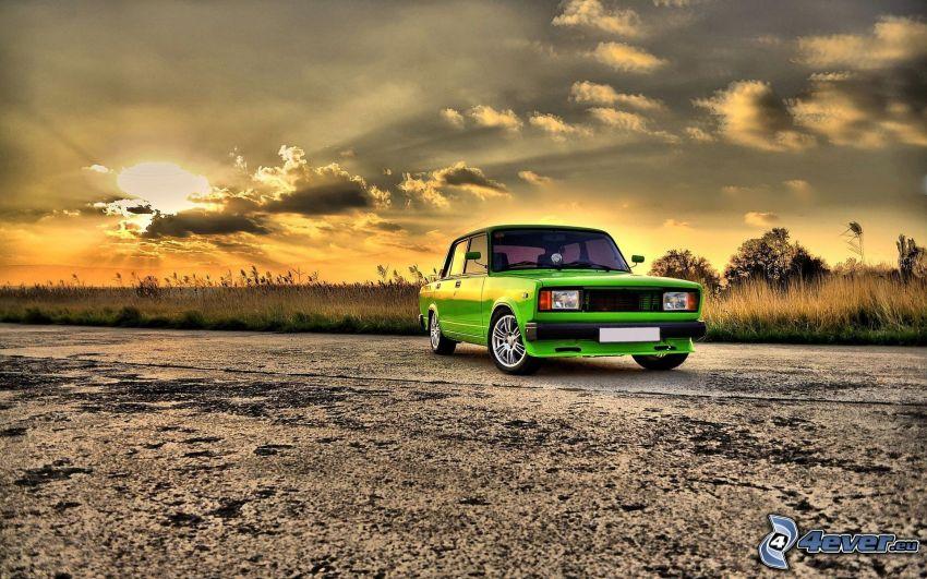 Lada, tuning, tramonto, HDR