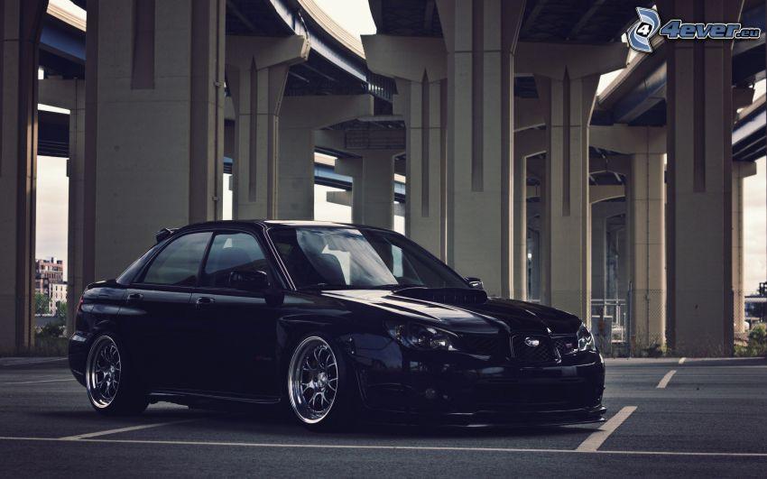 Subaru Impreza WRX STi, tuning, parcheggio, sotto il ponte