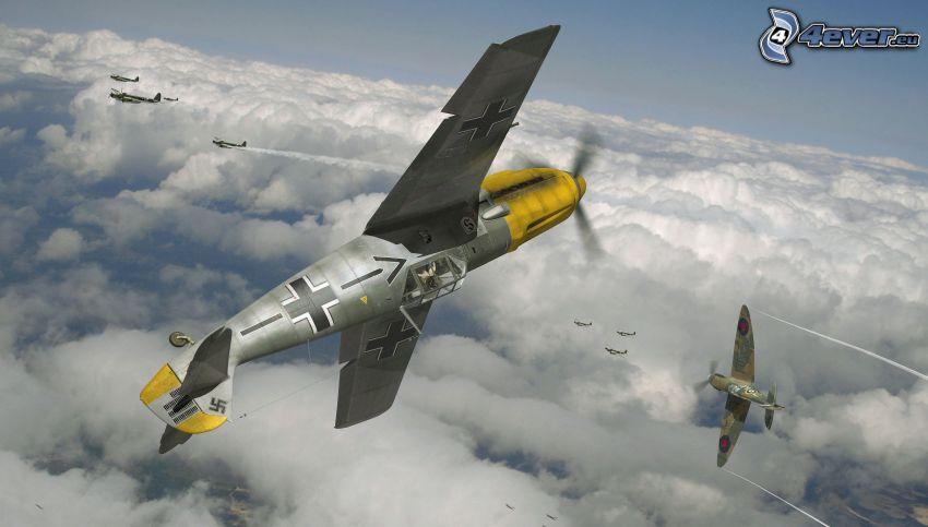 aerei, sopra le nuvole