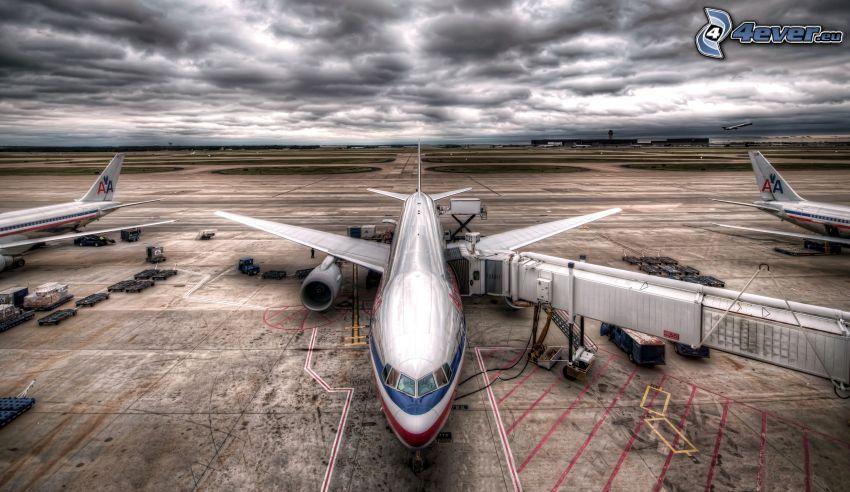 aeroporto, nuvole, HDR