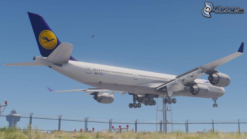 Airbus A340, atterraggio