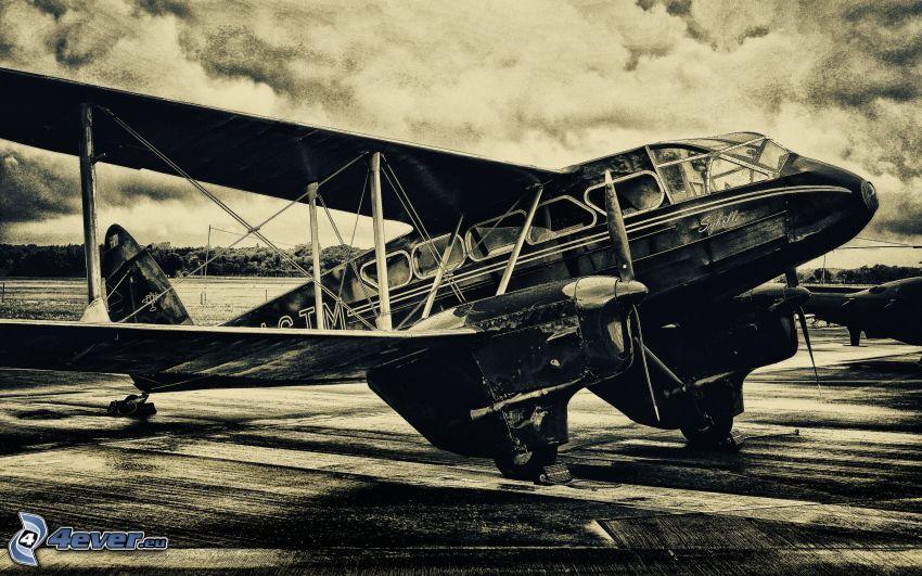 biplano, aereo, vecchia foto