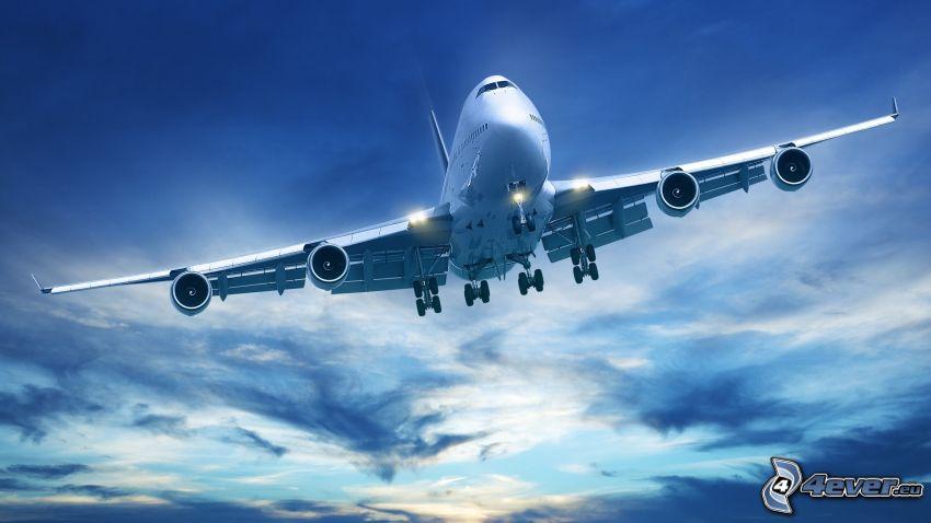 Boeing 747, aereo, cielo, atterraggio