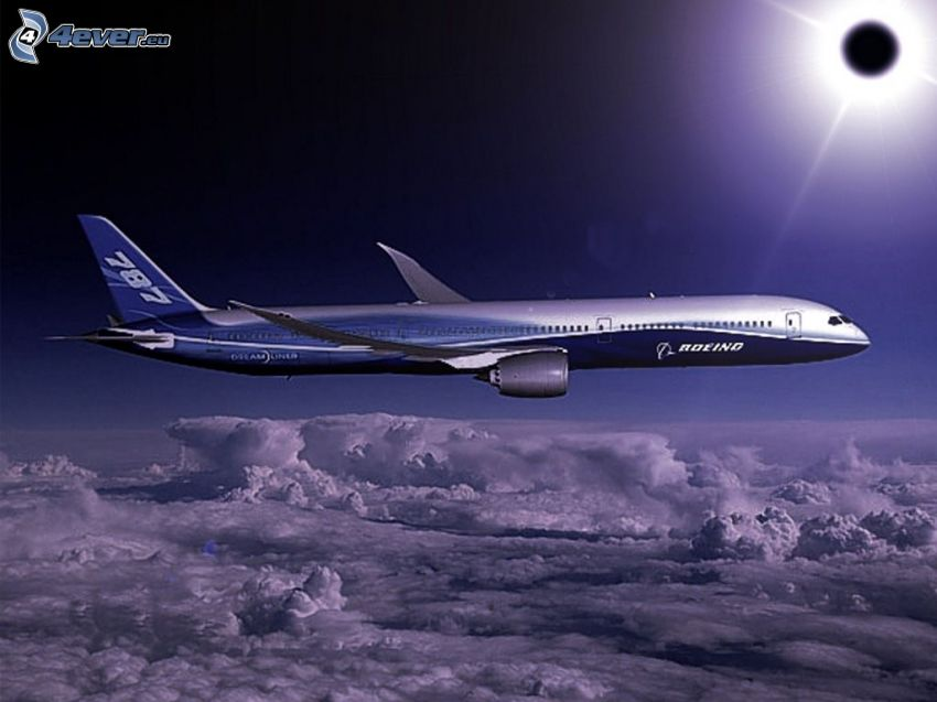 Boeing 787 Dreamliner, aereo, eclissi solare, nuvole
