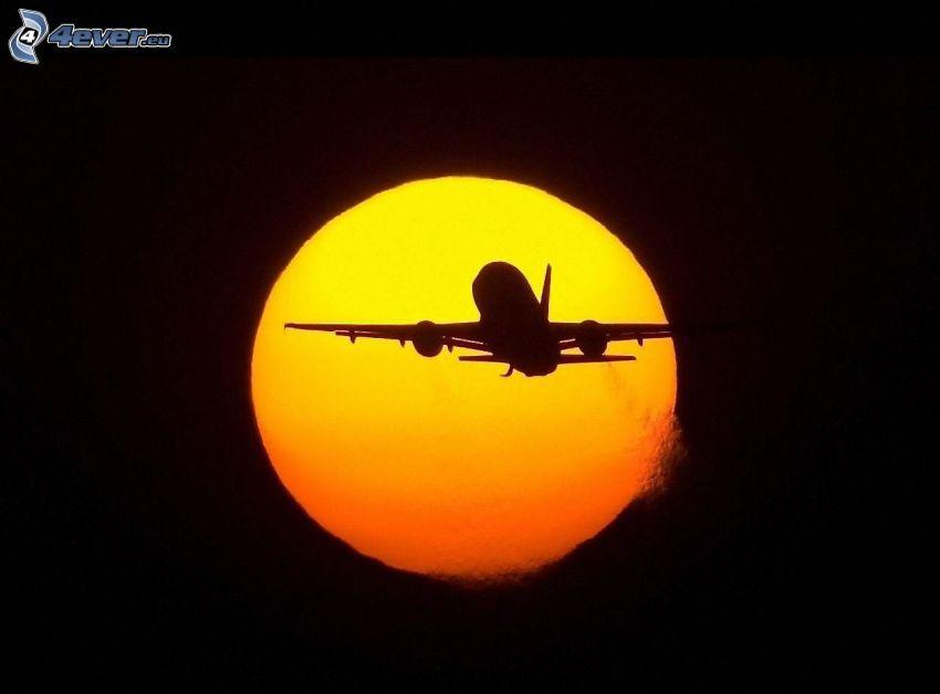 siluetta dell'aereo, Luna