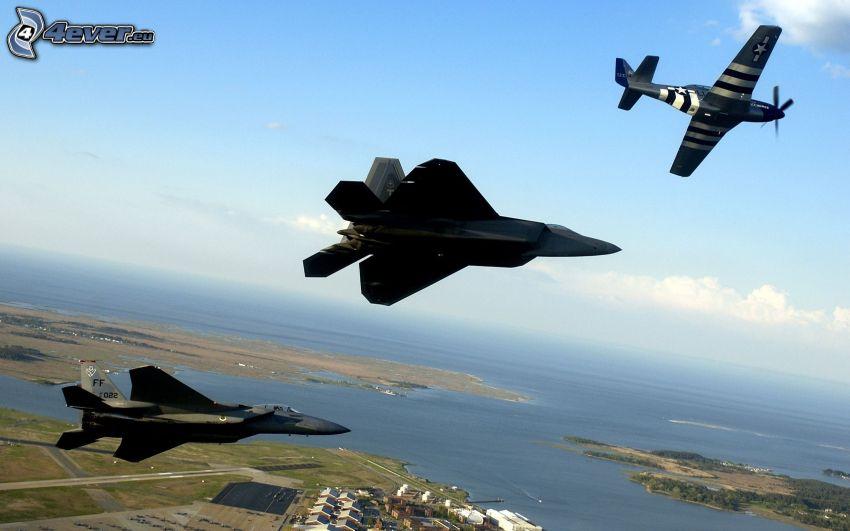 aerei da caccia, aereo, mare