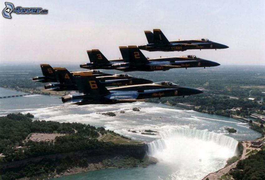 aerei da caccia, Cascate del Niagara, la vista del paesaggio