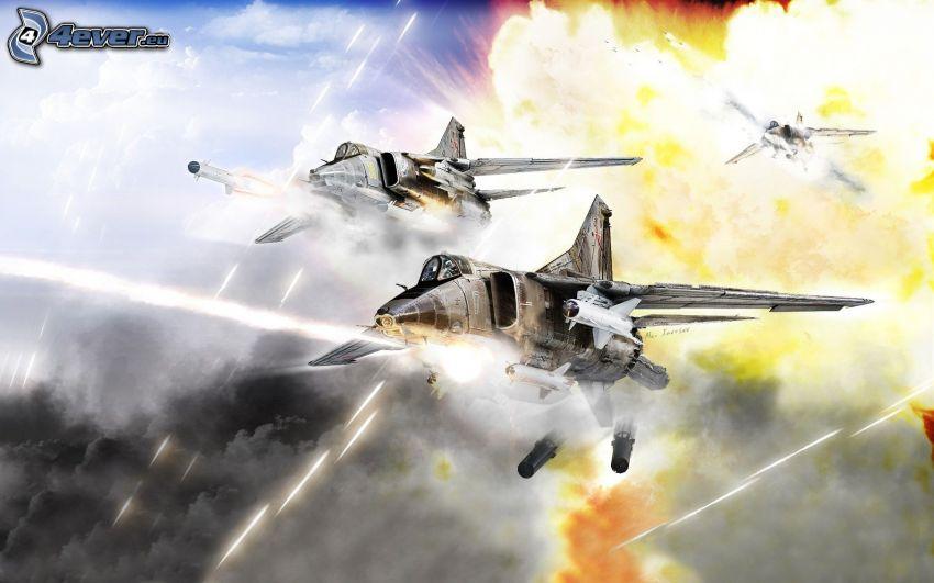 aerei da caccia, esplosione