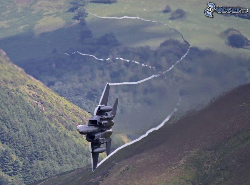 aereo da caccia, colline