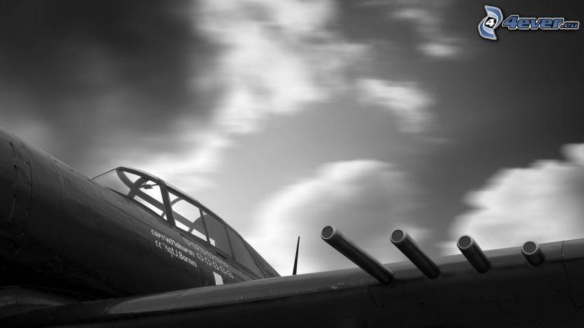 aereo da caccia, foto in bianco e nero