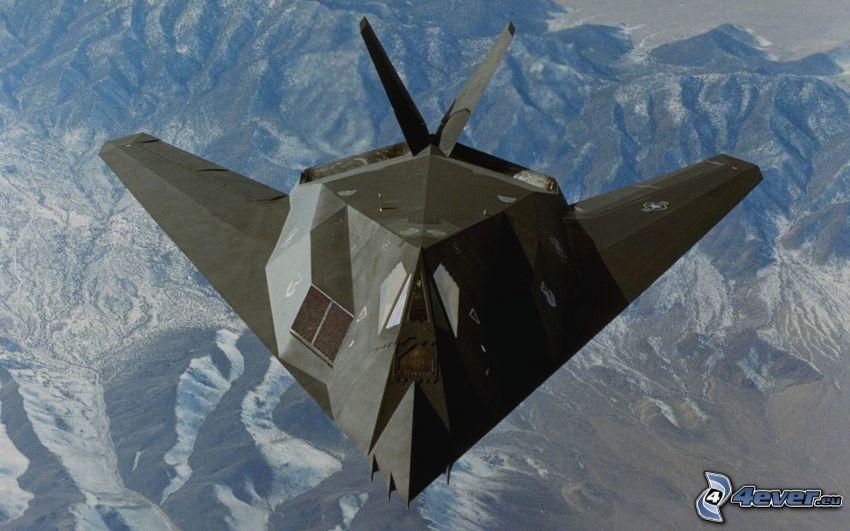 aereo da caccia, montagne