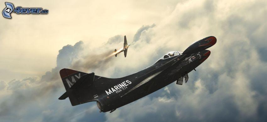 aereo da caccia, sopra le nuvole