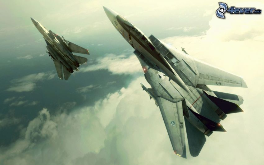 F-14 Tomcat, aerei da caccia, nuvole