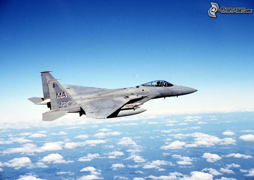 F-15 Eagle, cielo, nuvole