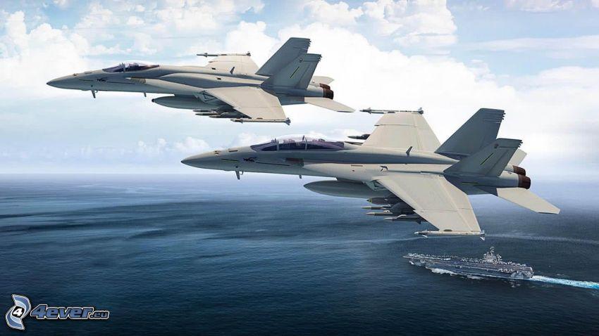 F/A-18E Super Hornet, portaerei, alto mare