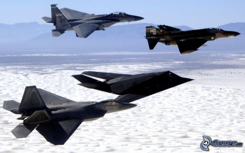Lockheed F-117, F-15 Eagle, F-22 Raptor