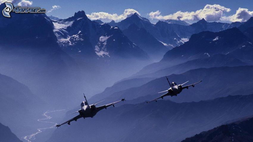Saab JAS 39 Gripen, montagne, nuvole