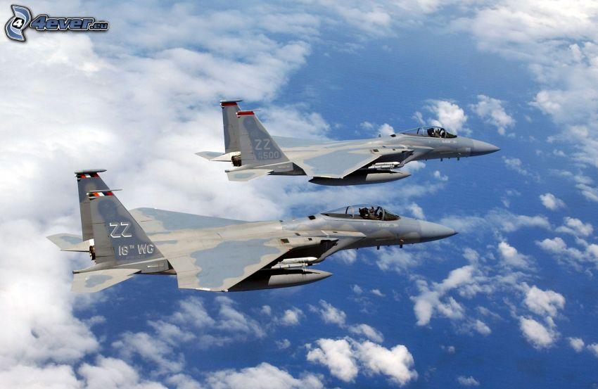 Squadron F-15 Eagle, aerei da caccia, mare, nuvole