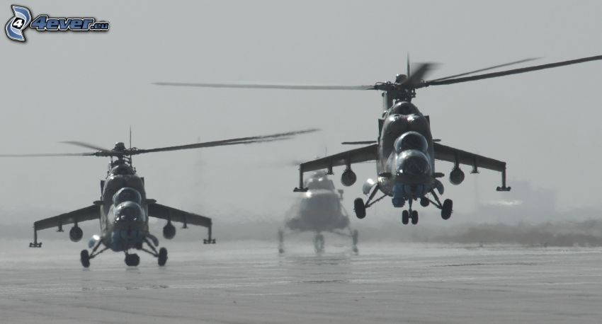 elicotteri militari, foto in bianco e nero
