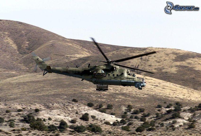 Elicottero militare, colline