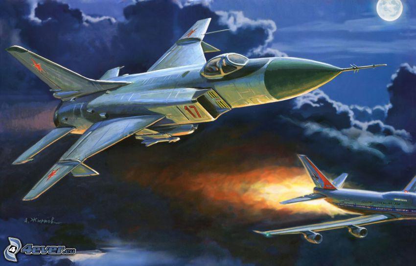 aerei da caccia, sopra le nuvole, notte