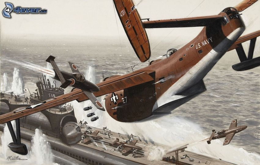 aereo, nave, bombardamento