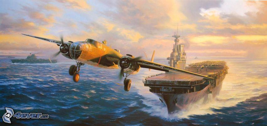 aereo, portaerei, marina e aeronautica, mare