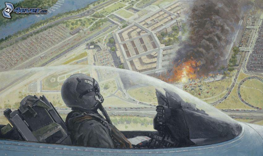 aereo da caccia, pilota, esplosione