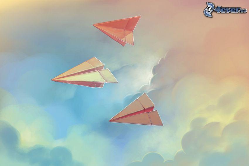 aereo di carta, nuvole