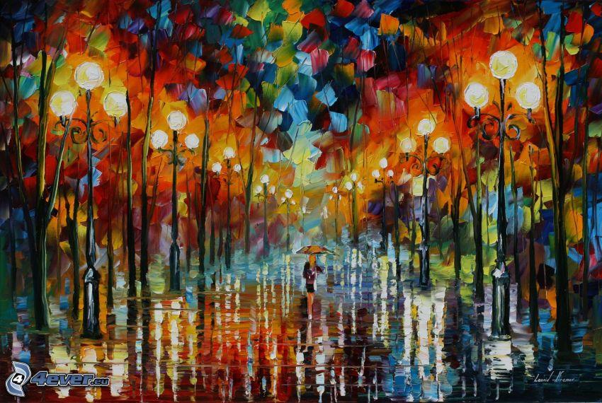 alberi, Ragazza sotto la pioggia