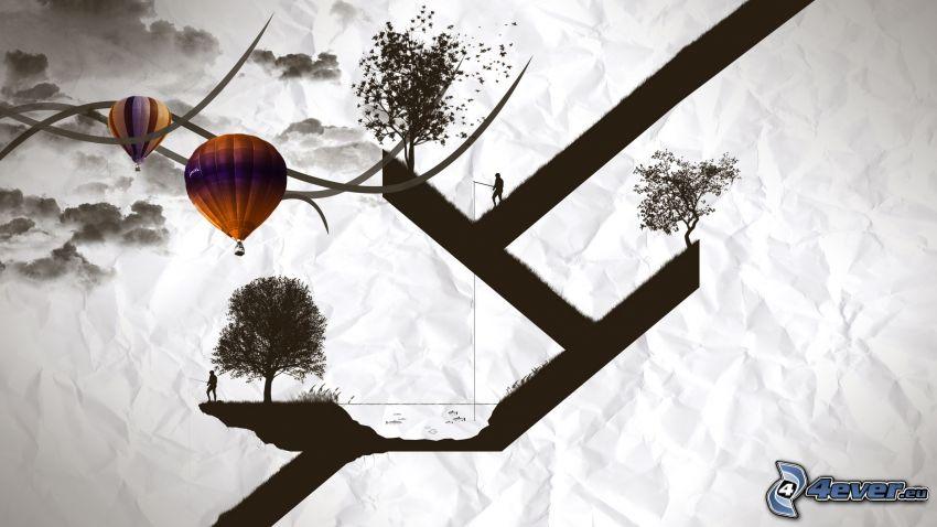alberi, sagome di persone, palloncini
