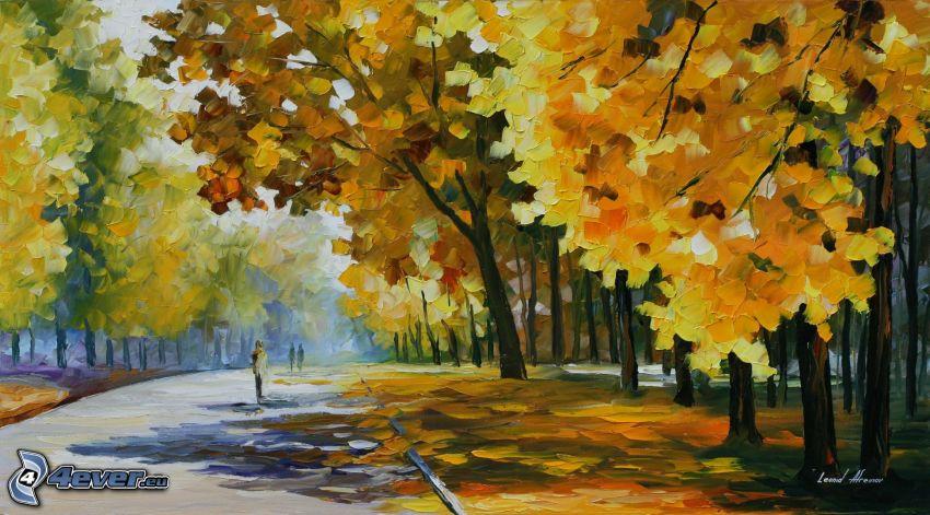 alberi autunnali, strada, pittura a olio