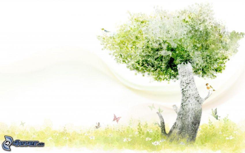 albero, farfalle