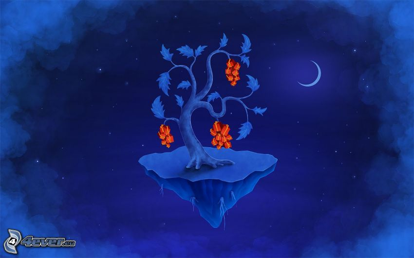 albero, isola, notte, luna