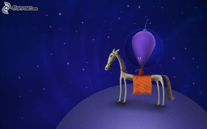 alieno, cartoon cavallo, carattere, stelle