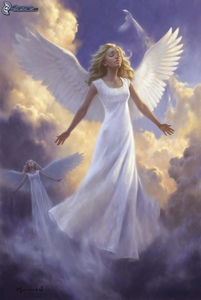 angeli, abito bianco, nuvole