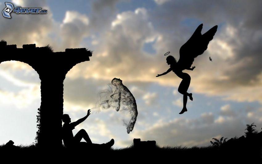 angelo, anima, siluetta di una donna e un uomo