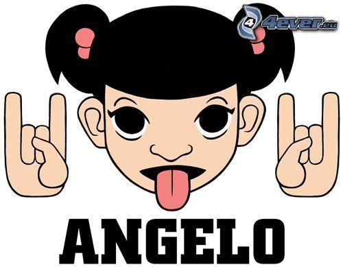 Angelo, disegno di una ragazza, lingua, dito
