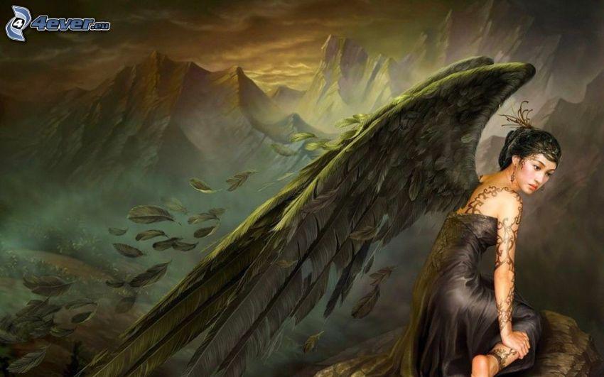 angelo disegnato, donna con le ali, montagne