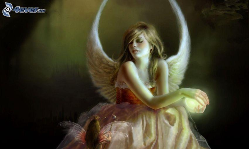 angelo disegnato, donna dipinta