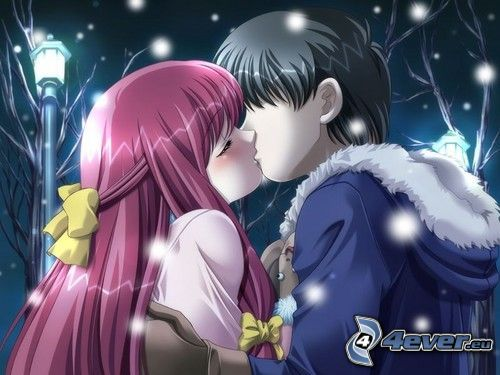 anime coppia, bacio