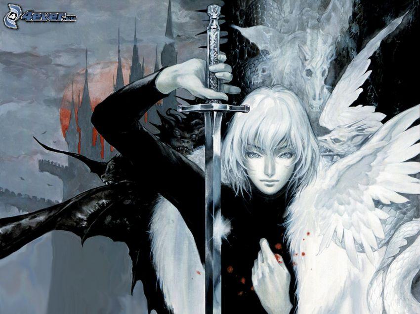 angelo disegnato, spada, donna con le ali, castello