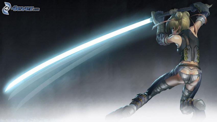 anime guerriera, spada laser