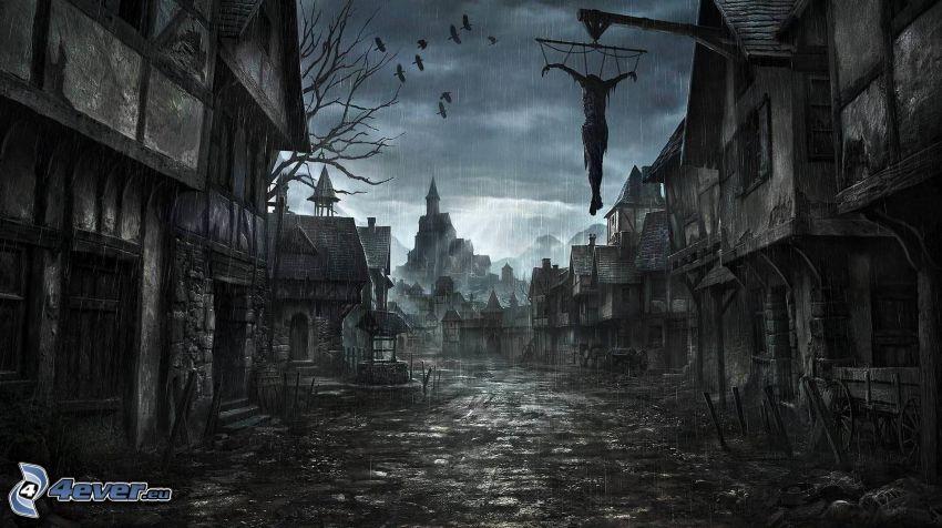 Città di cartone animato, impiccato, pioggia